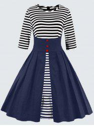 Plus Size Vintage Striped Button Embellished Dress