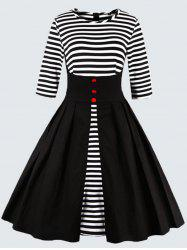 Plus Size Vintage Striped Button Embellished Dress -