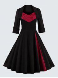 Plus Size Vintage Bowknot Skater Dress - RED