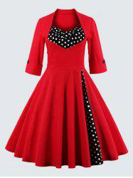 Plus Size Vintage Polka Dot Dress - RED
