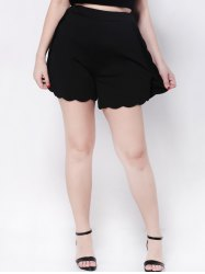 Scalloped High Waist Wide-Leg Shorts - BLACK