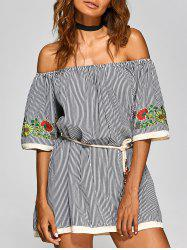 Off The Shoulder Pinstriped Floral Embroidered Dress -