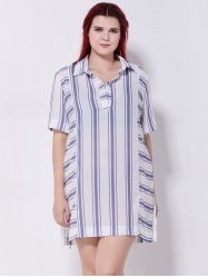 Striped Furcal Chiffon Longline Blouse