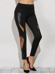 Skinny Mesh Spliced Narrow Feet Pants