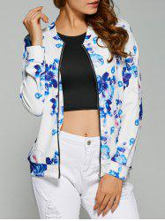 Zipper Design Floral Print Jacket - WHITE XL