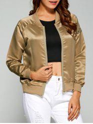 Zippered Satin Bomber Jacket - LIGHT BROWN