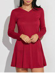 V-Neck Loose-Fitting Plain Dress