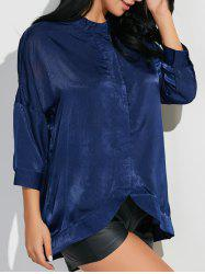 Stand Neck 3/4 Sleeve Satin Shirt - CADETBLUE M
