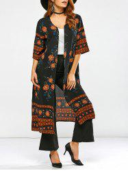 Round Neck Retro Print Duster Coat -