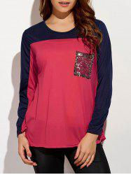 Sequin Long Sleeve Color Block T-Shirt