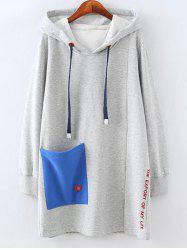 Plus Size Fleece Pocket Patched Long Hoodie -