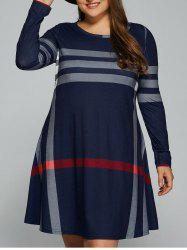 Casual Plus Size Striped Long Sleeve T-Shirt Dress