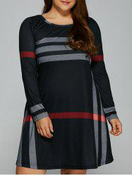 Casual Plus Size Vertical Striped T-Shirt Dress