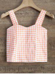 Straps Checked Padded Cropped Tank Top -