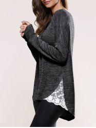 Lace Insert Asymmetric Pullover Long Sleeve Sweater - BLACK