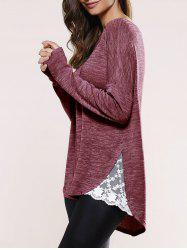 Lace Insert Asymmetric Pullover Long Sleeve Sweater - STRAWBERRY RED