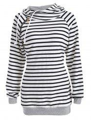 Inclined Zipper Striped Hoodie -