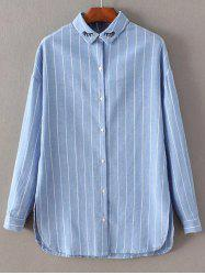 Long Sleeve Embroidered Striped Shirt - AZURE S