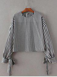 Checked Back Button Crop Blouse