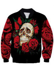 Stand Collar 3D Skull Design Rose Printed Jacket - BLACK