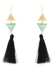 Artificial Turquoise Triangle Tassel Earrings -
