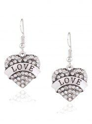 Rhinestone Engraved Love Heart Drop Earrings -