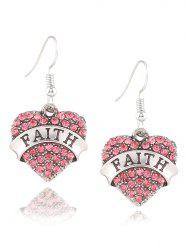 Rhinestone Engraved Faith Heart Drop Earrings -