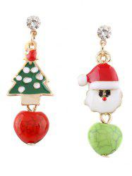 Rhinestone Santa Christmas Tree Asymmetric Earrings