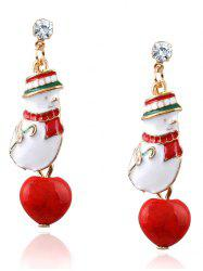 Rhinestone Christmas Snowman Earrings - RED
