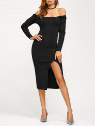 Off Shoulder Long Sleeve Slit Pencil Dress