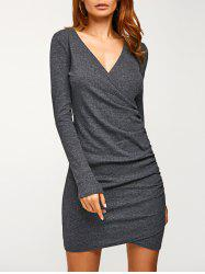 Long Sleeve Ruched V Neck Bandage Dress