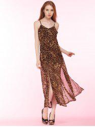 Cami Leopard High Slit Maxi Dress