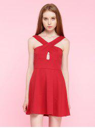 Cut Out Criss-Cross A-Line Mini Cocktail Dress -