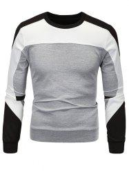 Color Block Spliced Long Sleeve Sweatshirt - GRAY 3XL