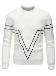 Striped Triangle Printed Long Sleeve Sweatshirt - WHITE 2XL