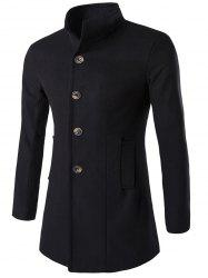 Long Sleeves Single-Breasted Woolen Blend Coat - BLACK