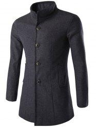 Long Sleeves Single-Breasted Woolen Blend Coat - GRAY