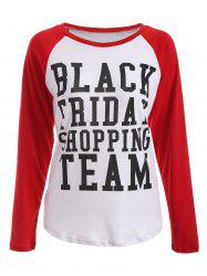 Black Friday Print Raglan Sleeve Tee -