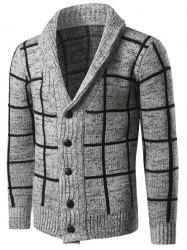 Shawl Collar Grid Pattern Button Up Cardigan