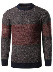 Color Block Splicing Long Sleeve Crew Neck Sweater