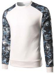 Floral Print Color Block Spliced Long Sleeve Sweatshirt - WHITE 5XL