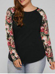 Plus Size Floral Raglan Full Sleeve T-Shirt - BLACK