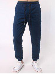 Number Embroidered Zipper Bmbellished Chino Jogger Pants -