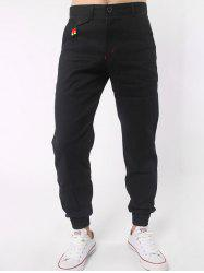 Zipper Fly Beads Embellished Chino Jogger Pants - BLACK
