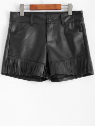 Plus Size Fringed Faux Leather Shorts