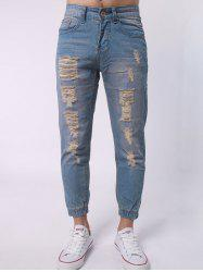 Zipper Fly Distressed Jean Joggers - BLUE