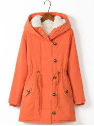 Plus Size Hooded Drawstring Long Winter Parka Coat - ORANGE RED