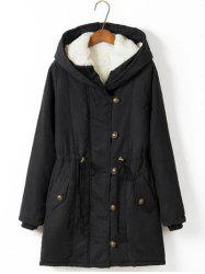 Plus Size Hooded Drawstring Long Winter Parka Coat - BLACK