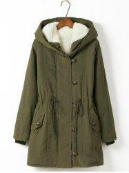 Plus Size Hooded Drawstring Long Parka Coat - ARMY GREEN