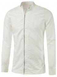 Stand Collar Zipper-Up Lightweight Jacket - WHITE